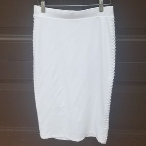 Bebe  White Pencil Skirt Woven Detail On Sides NWT